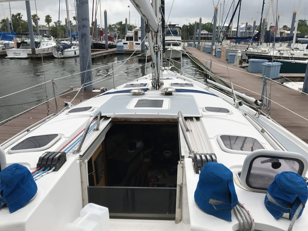 Cockpit view of marina